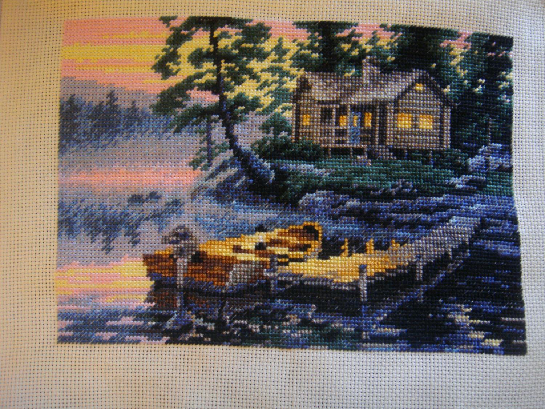 Схема вышивки утро на озере 3