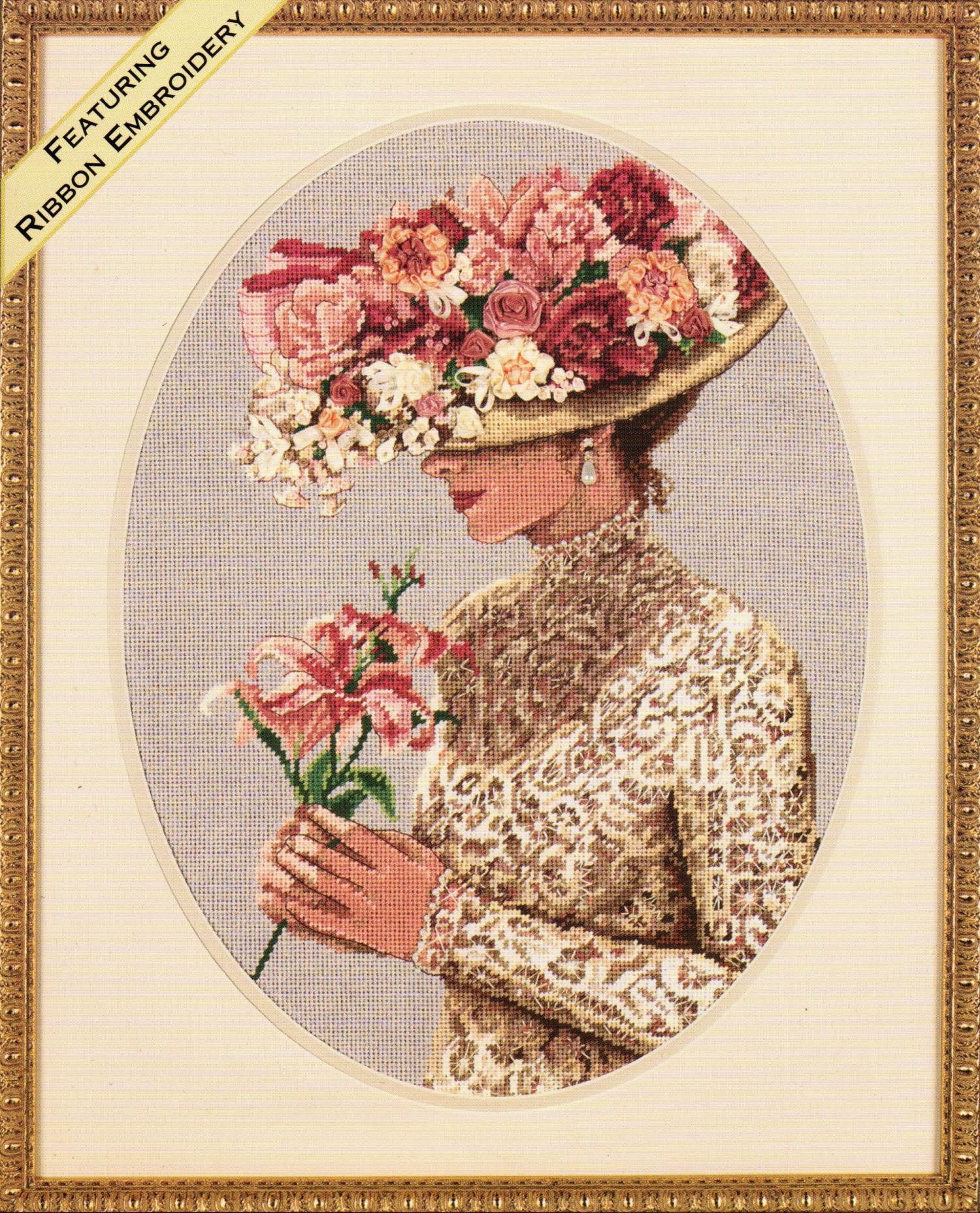 Схема вышивки лентами девушек в шляпе