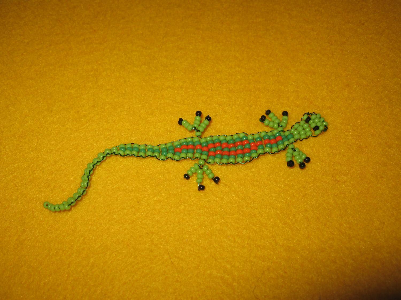 Ящерица из бисера с пошаговым фото