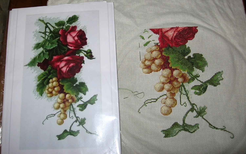 Виноград с розами вышивка 18