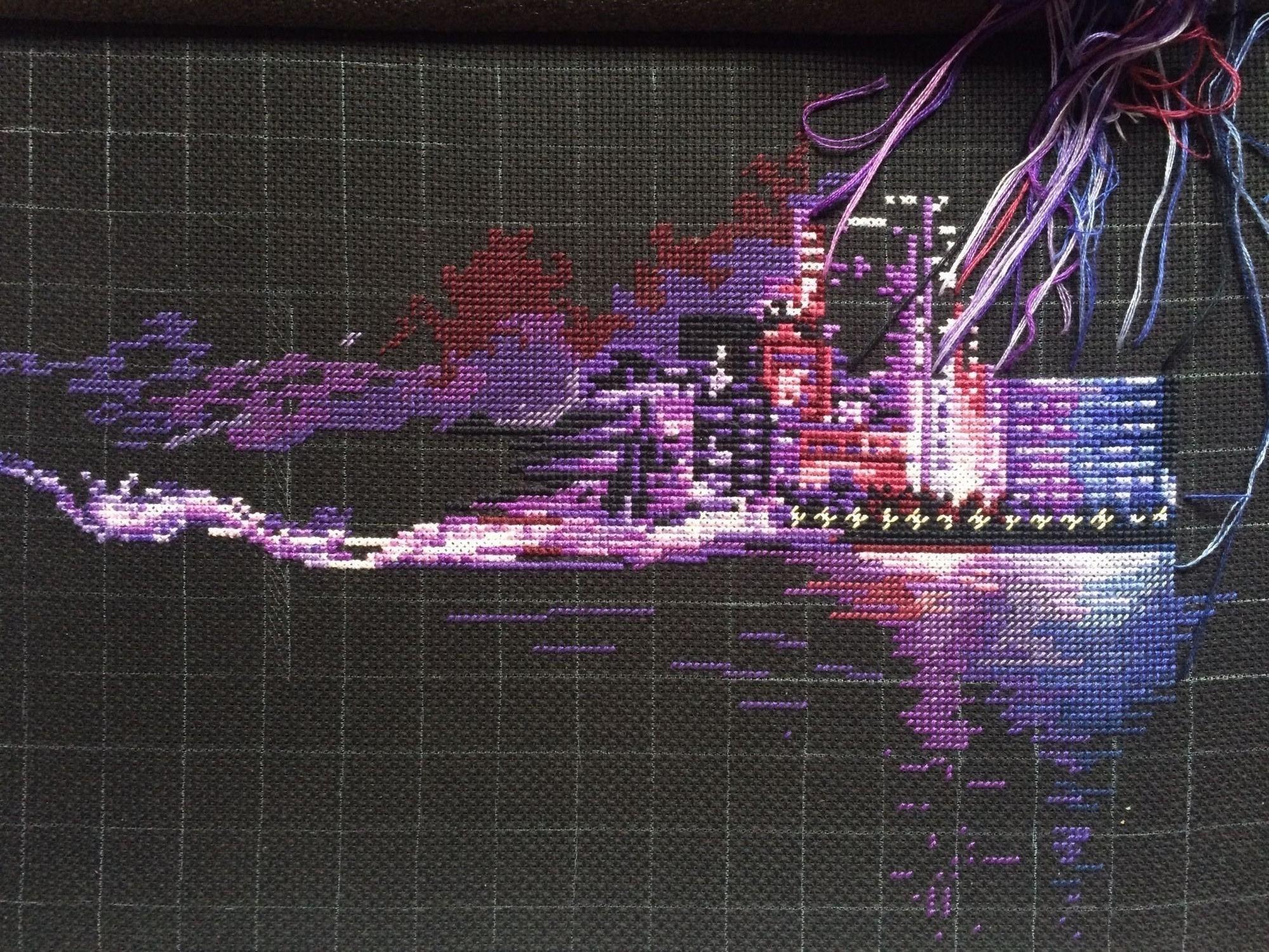 Схема вышивки ночной город 184