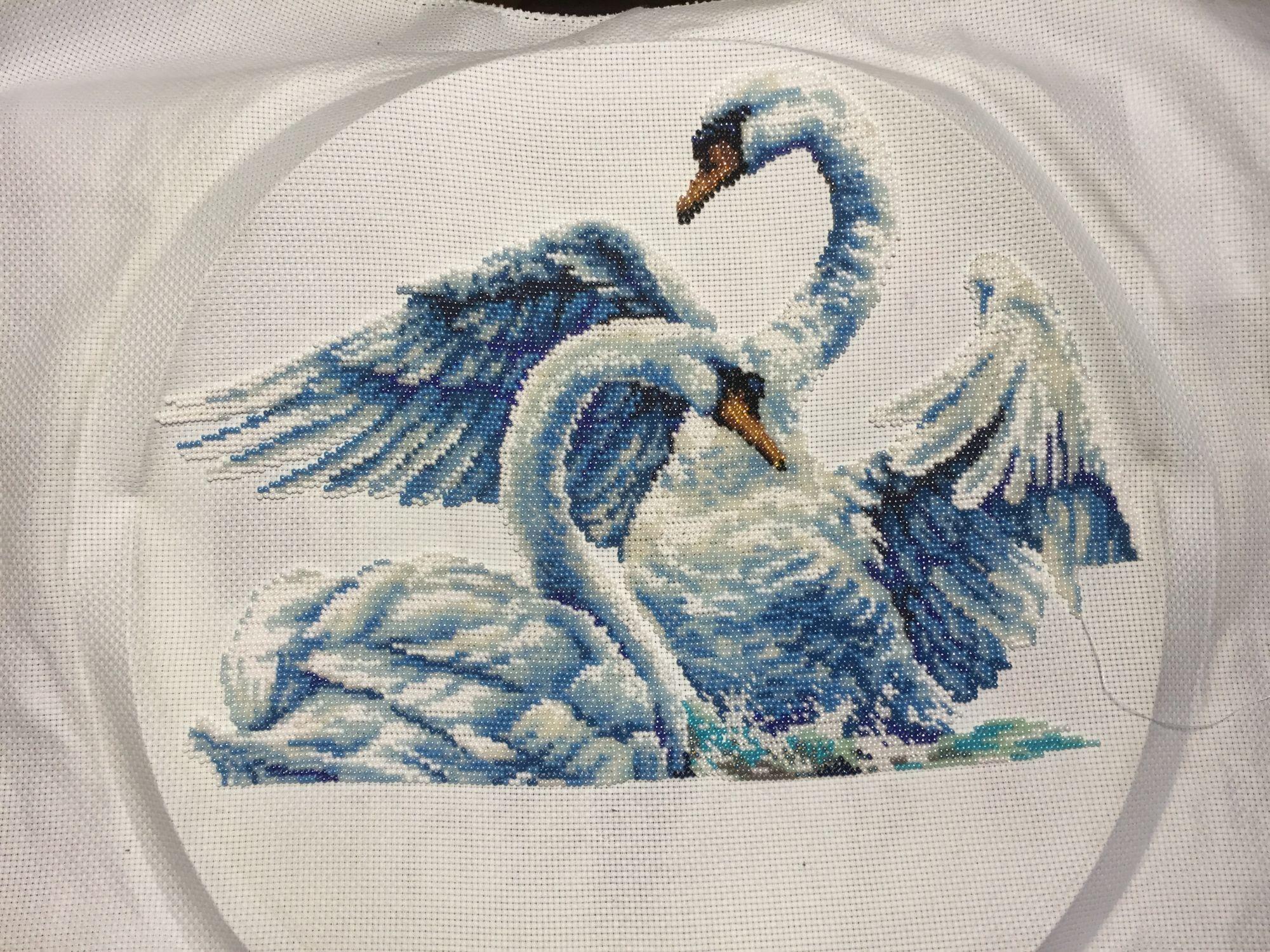 Вышивка два лебедя фото
