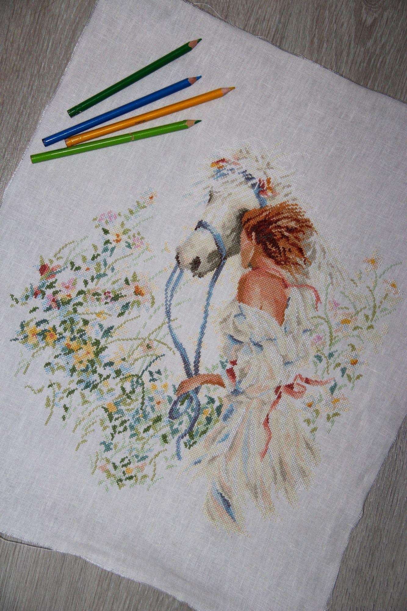 Вышивка девушка с книгой ланарте