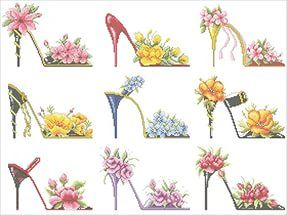 Схемы туфельки из цветов