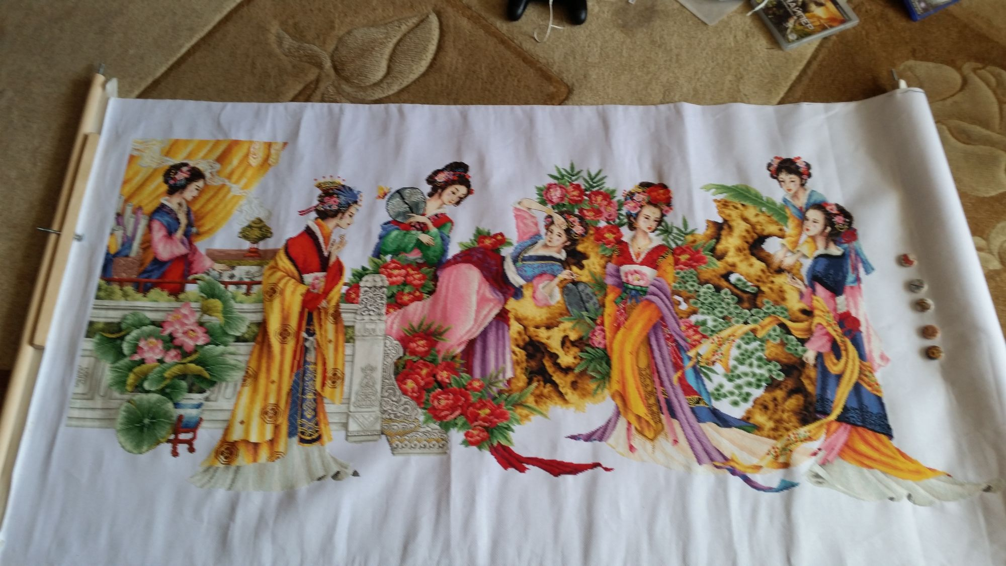 Вышивка крестом 12 красавиц японок готовая работа 63